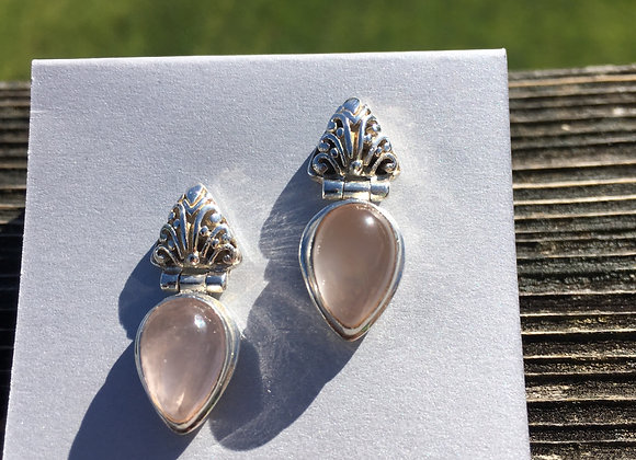 Stud rose quartz drop earrings
