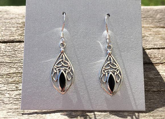 Onyx Celtic knot earrings