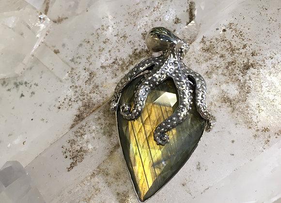 Mercurious labradorite octopus pendant