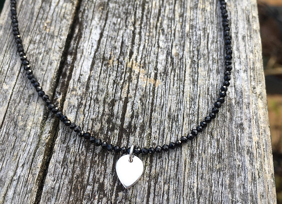 Black spinel and lotus petal necklace