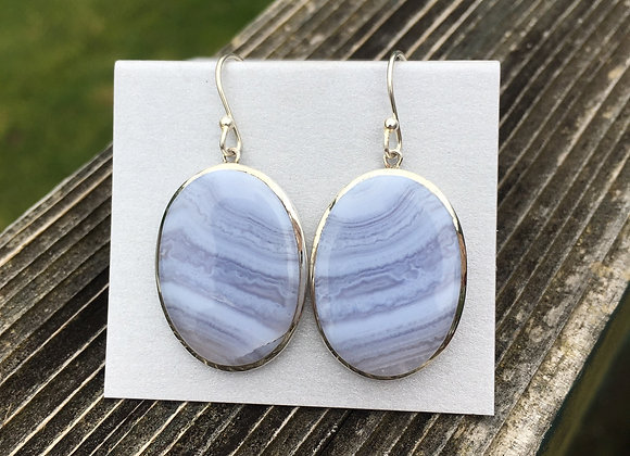 Large blue lace agate earrings