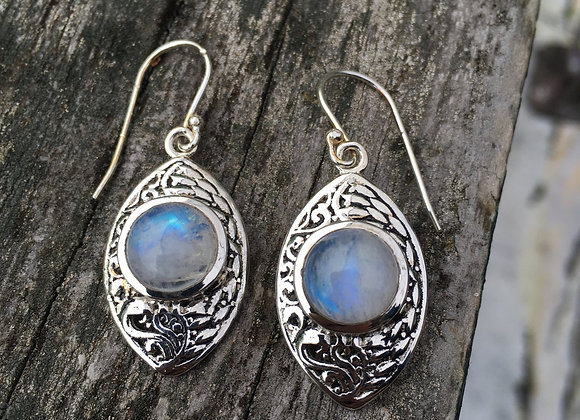 Marquis derailed setting moonstone earrings
