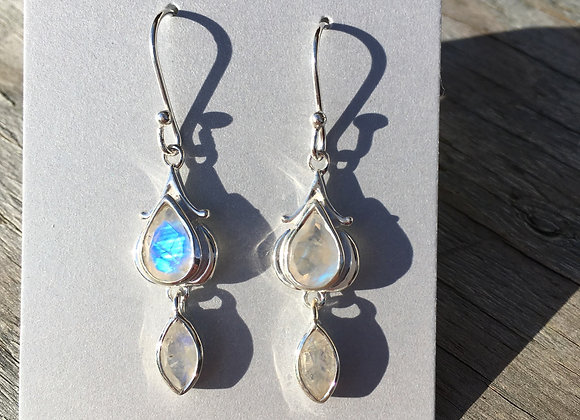 Two stone dangle moonstone earrings