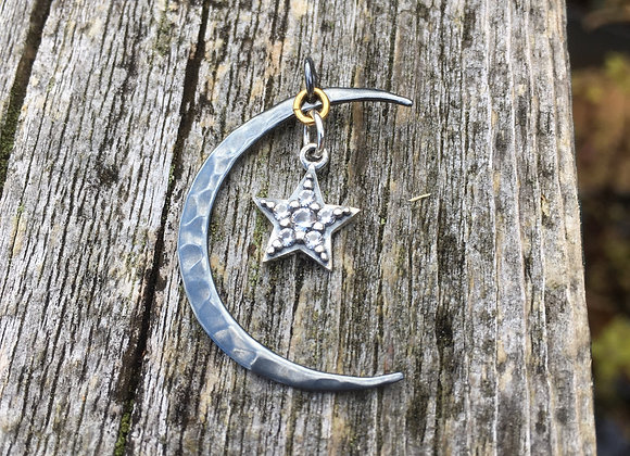 Oxidized moon and sparkling star pendant