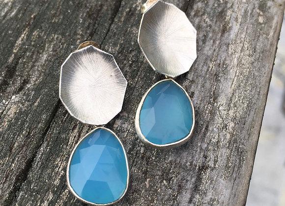 Chalcedony stud drop earrings