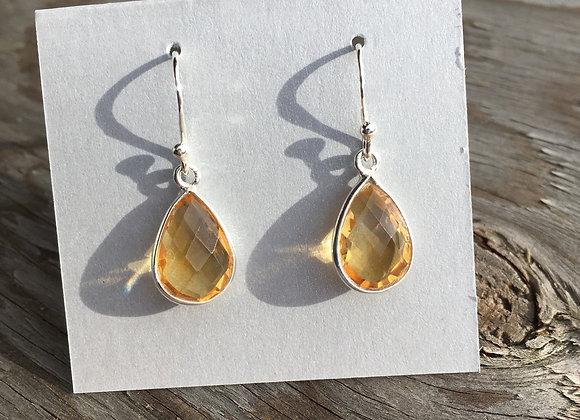 Simple golden teardrop citrine earrings