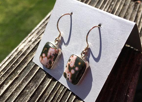 Rectangle ocean jasper earrings