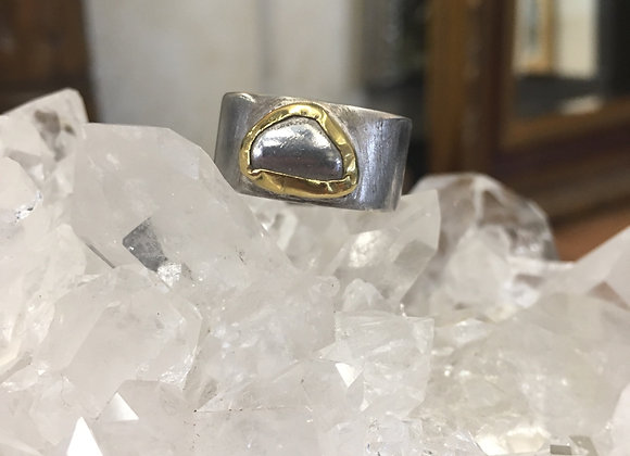 Yutal silver nugget ring with 22 carat gold