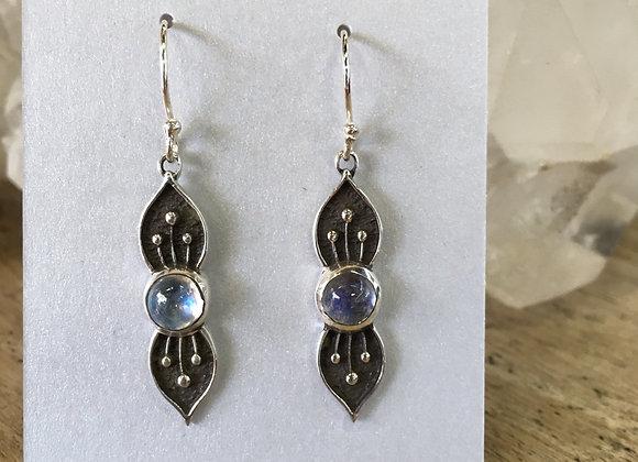 Roulette 18 lotus drop moonstone earrings