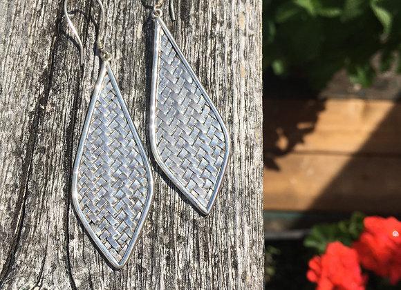 Large silver basket weave earrings