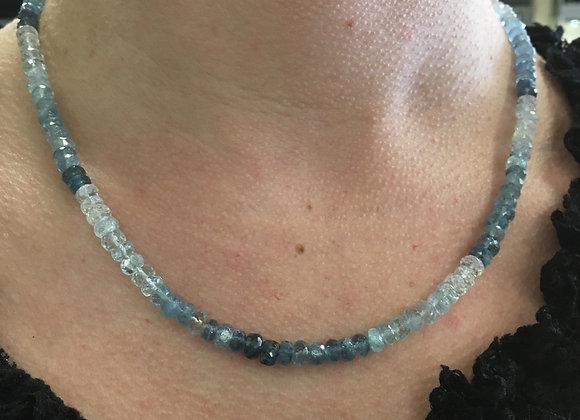 Aquamarine multi tone necklace