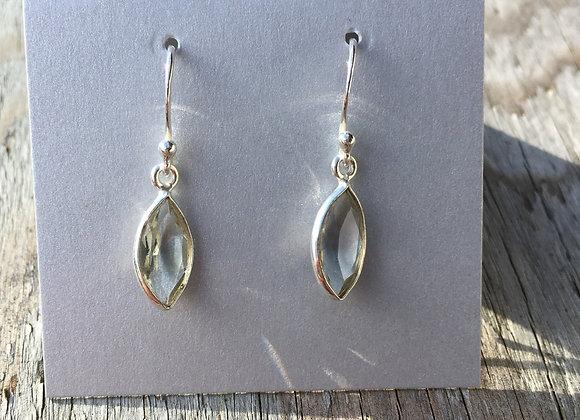 Simple little marquis green amethyst earrings