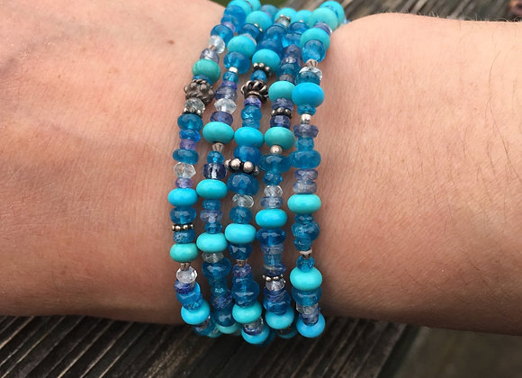 Five strand turquoise and apatite mixed bracelet