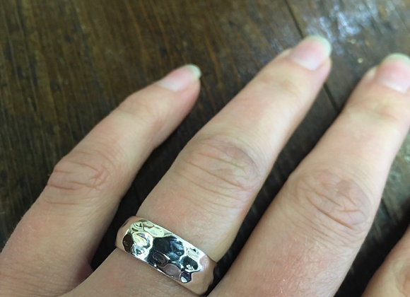 Hammered silver band