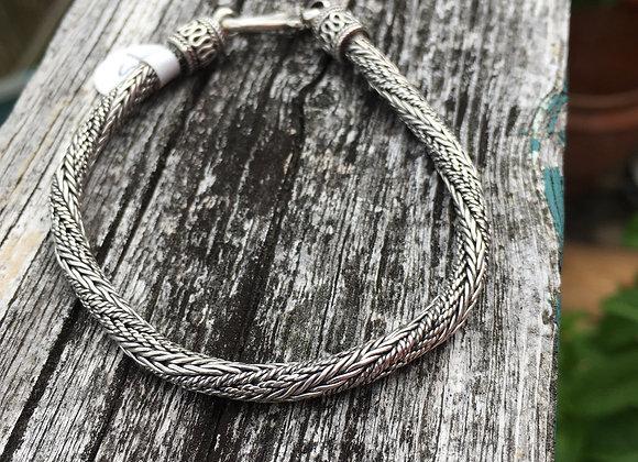 Twisted silver braid bracelet