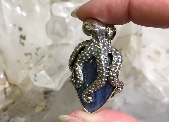 Mercurious kyanite octopus pendant