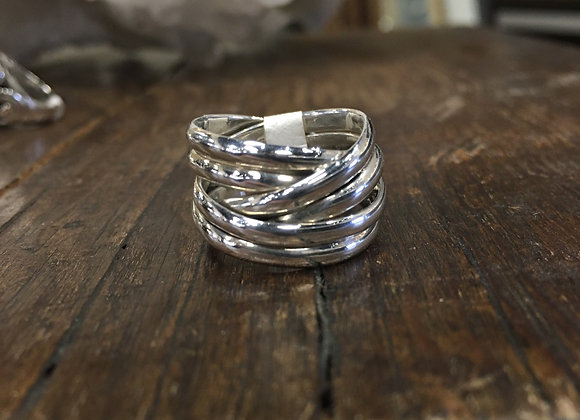 Wide woven bands ring