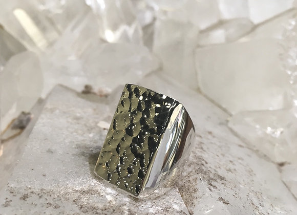 Hammered silver rectangle ring