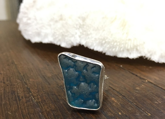 Waters Edge Silver blue sea glass ring