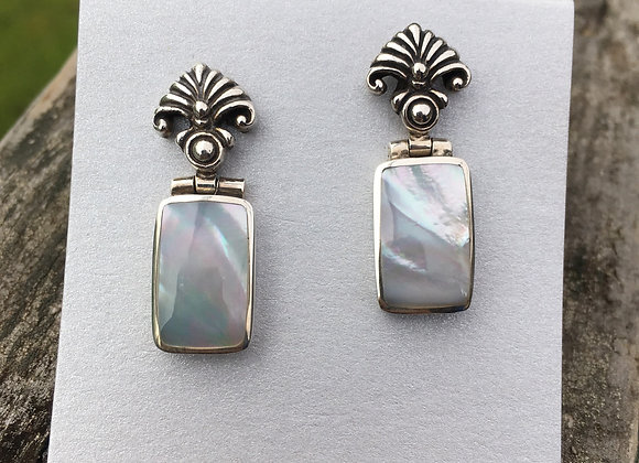 Mother of pearl stud drop earring