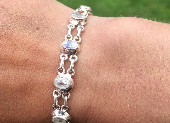 Faceted moonstone multi stone bracelet