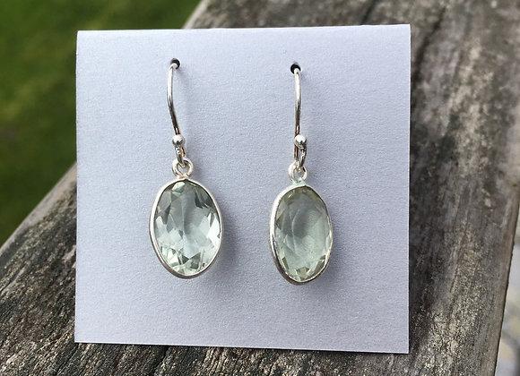 Oval green amethyst earrings