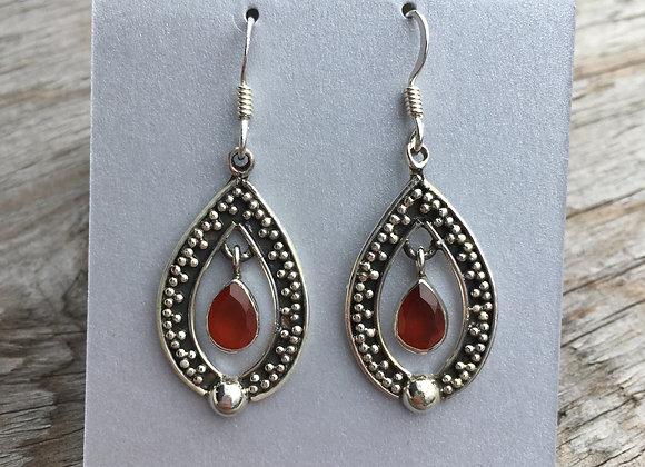 Carnelian oxidized drop earrings