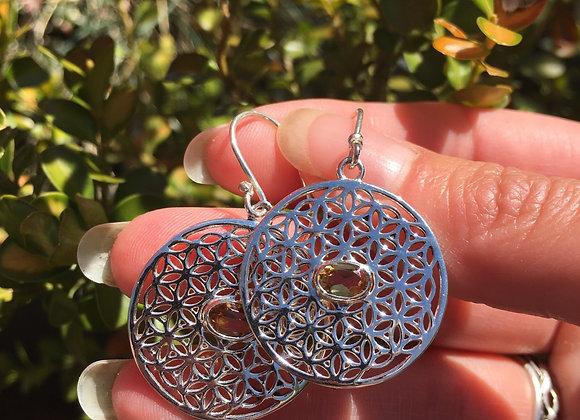 Flower of life citrine earrings