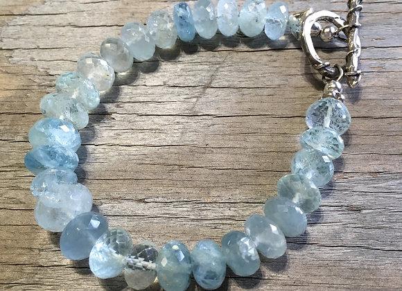 Large bead aquamarine bracelet