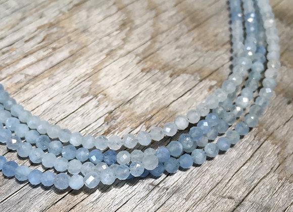 Multi strand aquamarine choker