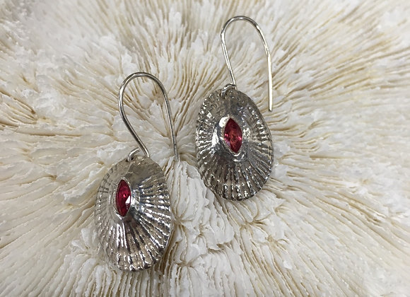 Waters Edge Silver limpet earring