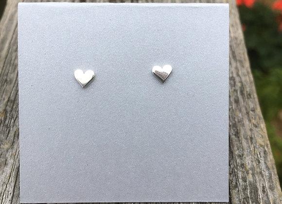 Tiny flat heart studs