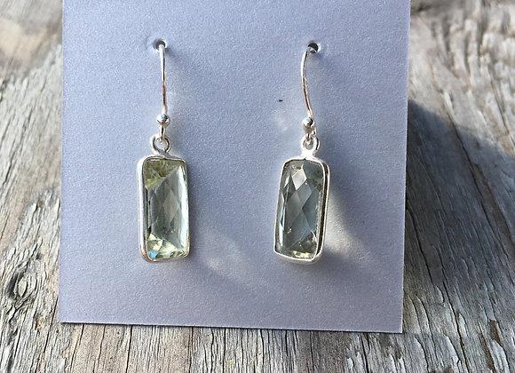 Simple rectangle green amethyst earrings