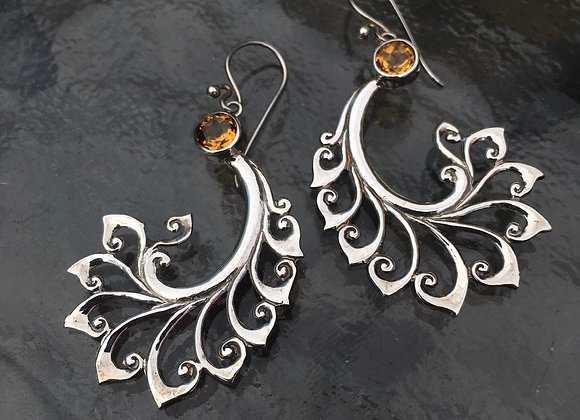 Citrine paisley earrings