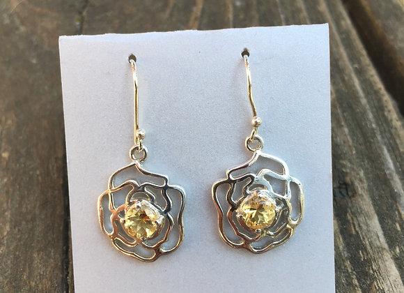 Citrine rose earrings