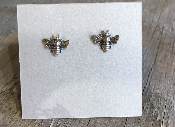 Detailed silver  bee studs