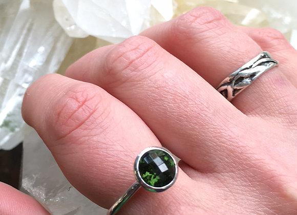 Round Moldavite stacking ring
