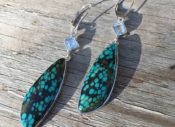 Turquoise and blue topaz large dangle earrings