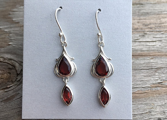Two stone garnet drop earrings