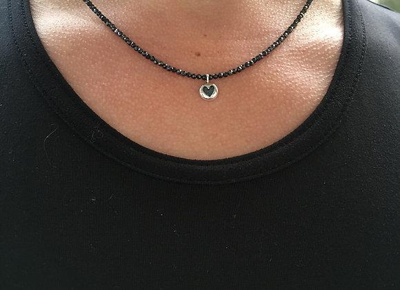 Choose love black spinel necklace