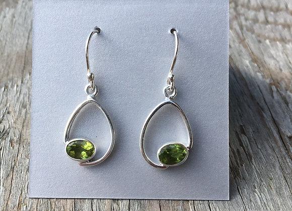 Floating teardrop peridot earrings