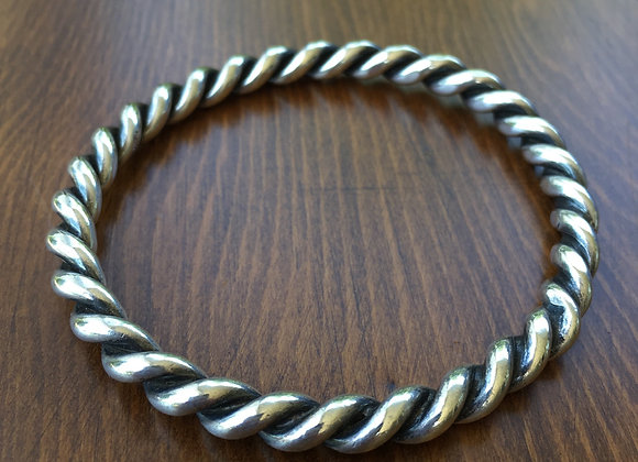 Bosco Bling twisted silver bangle