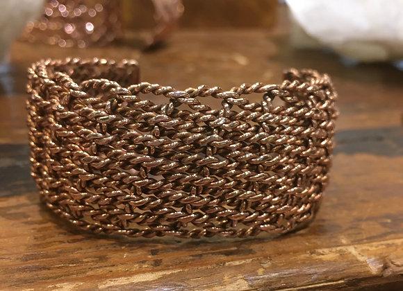 Twisted weave copper cuff bracelet