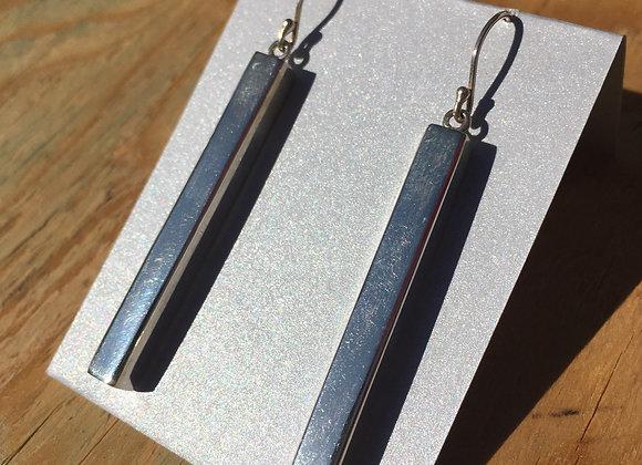Long 3D rectangle silver earrings