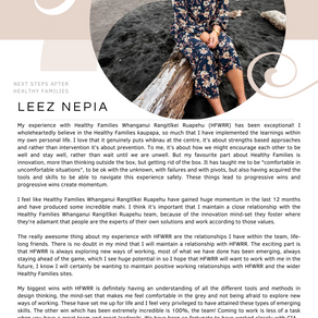 Leez Nepia, next steps after Healthy Families