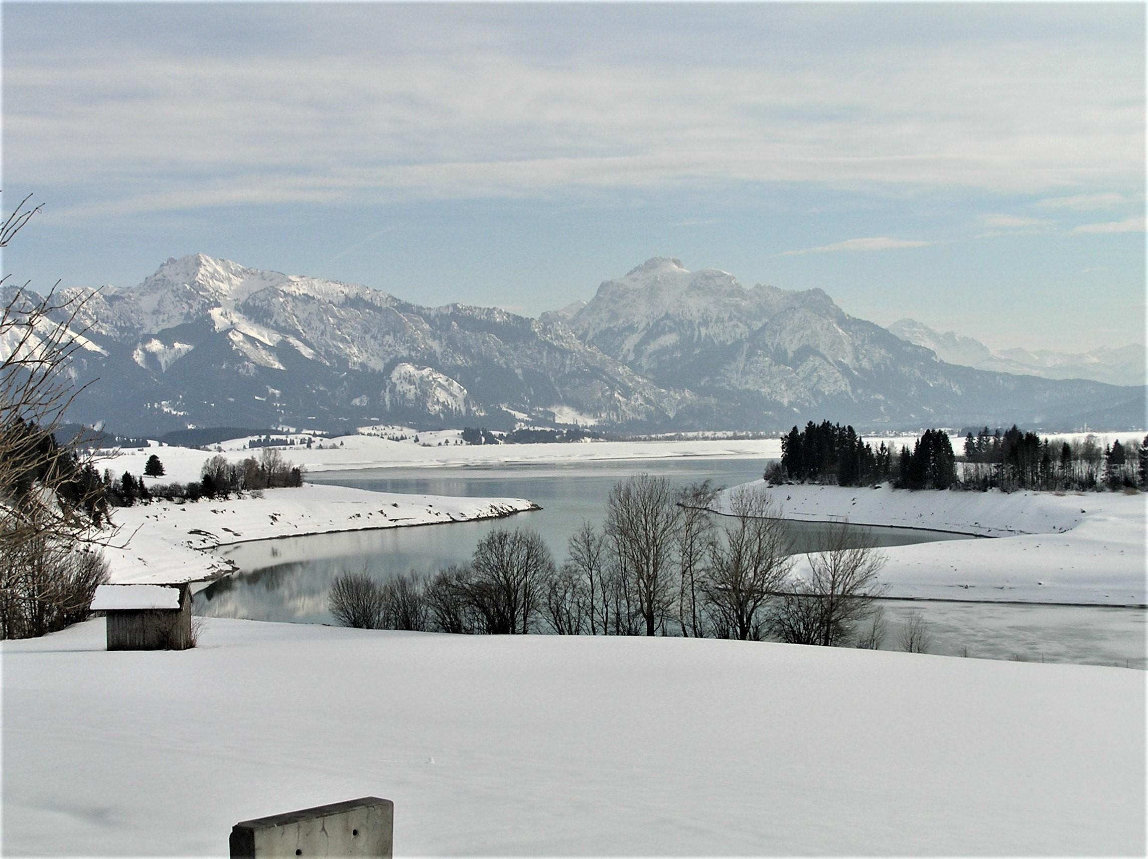 Forggensee mit Alpen