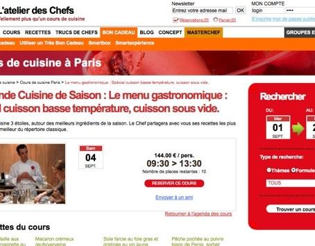 Cours de cuisine sous vide basse température à l'Atelier Des Chefs (Paris rue de Penthièvre)