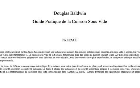 « A pratical Guide to Sous Vide » de Douglas Baldwin désormais disponible en Français