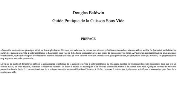 Douglas baldwin Guide Cuisson Sous Vide traduit par Addelice SWID