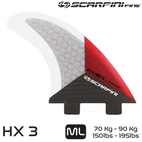 SCARFINI HX 3 CARBON BASE DUAL TAB FINS (ML) (THRUSTER)